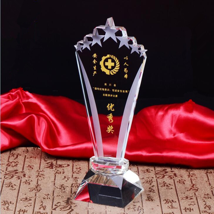 Hot selling customized with seven stars acrylic blank glass award