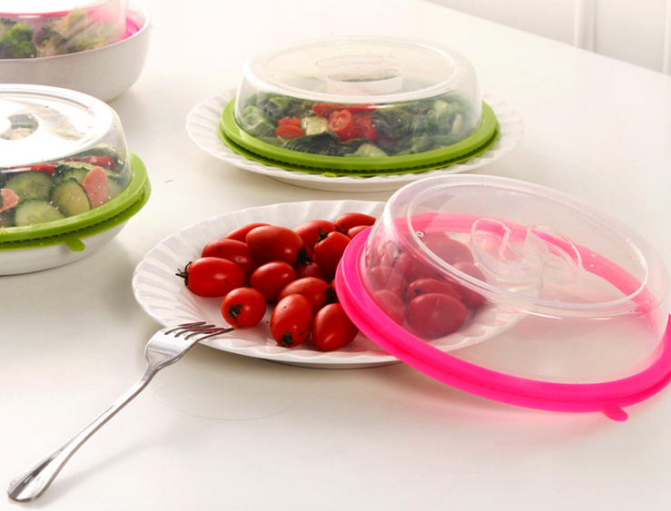 Hot sell Kitchen Gadgets Microwave Plate Cover Food Spatter with Silicone Sealed and clear lid Fresh Keeper