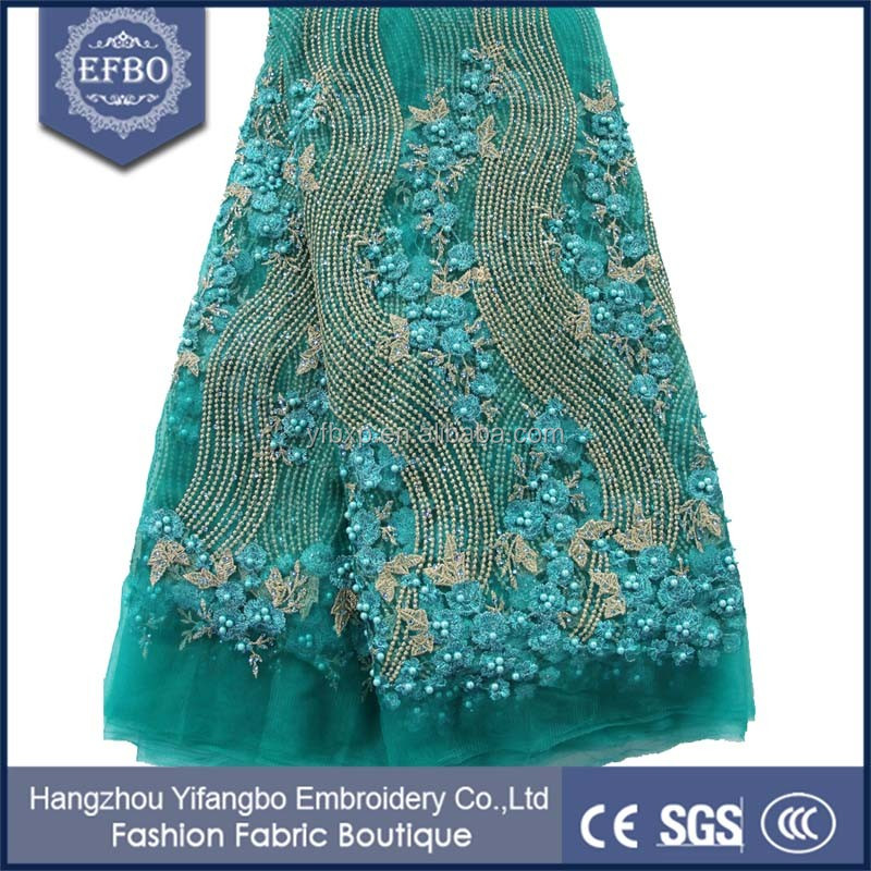 Nigerian aso ebi bridal tulle net french laces fabric embroidery teal beaded bridal lace