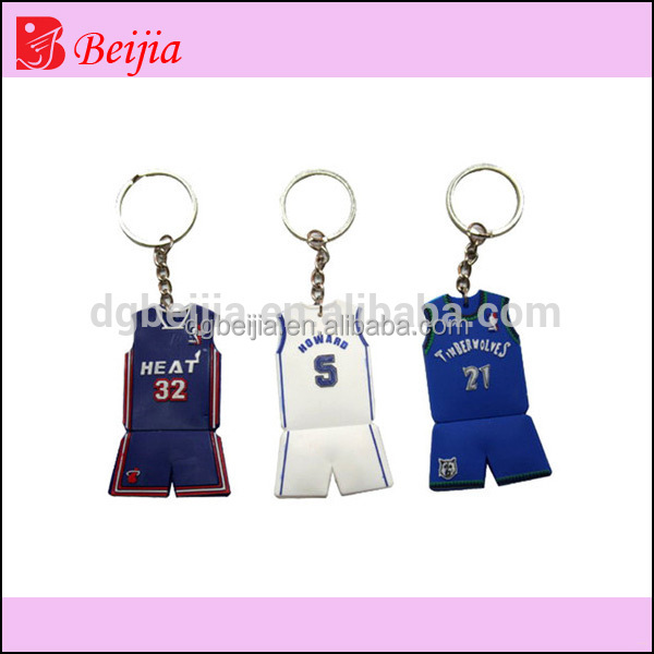 Custom basketball jersey 3D embossed soft pvc silicone keychain/rubber key chains/keyring for crazy fans