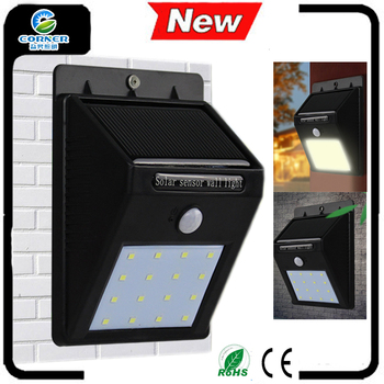 Outdoor Recharged by Sunlight and battery storage wall motion sensor solar powered led Light