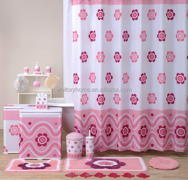 Hot sale bathroom set shower curtain and matching pp bath for Pink bathroom accessories sets