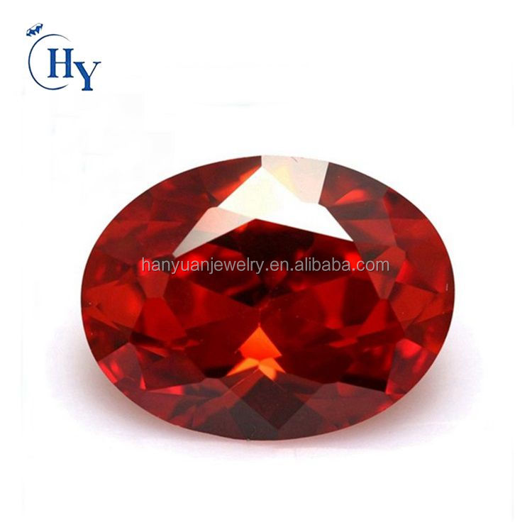 Best quality 5A orange 8x10mm oval cz gems