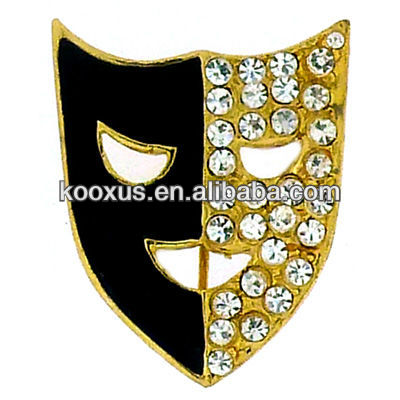 Gold Plated Black Enamel Crystal Theatre Mask Brooch