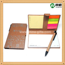 kraft paper cover note pad with pen, recycling sticky note pad with pen, eco sticky notepad with pen