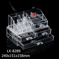 makeup boxes clear plastic cosmetic cheap display case with large drawers