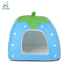 Strawberry Shape Foldable Pet Supplies Cages Soft Warm Dog Cat House Pet Dome Tent House Kennel Sleeping Room Bed Mat Cushion