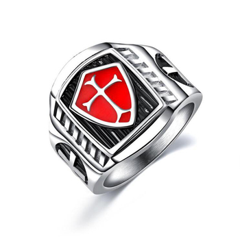 RI00139 Yiwu WT fashion trend stainless steel cross red shield casting men's ring wholesale
