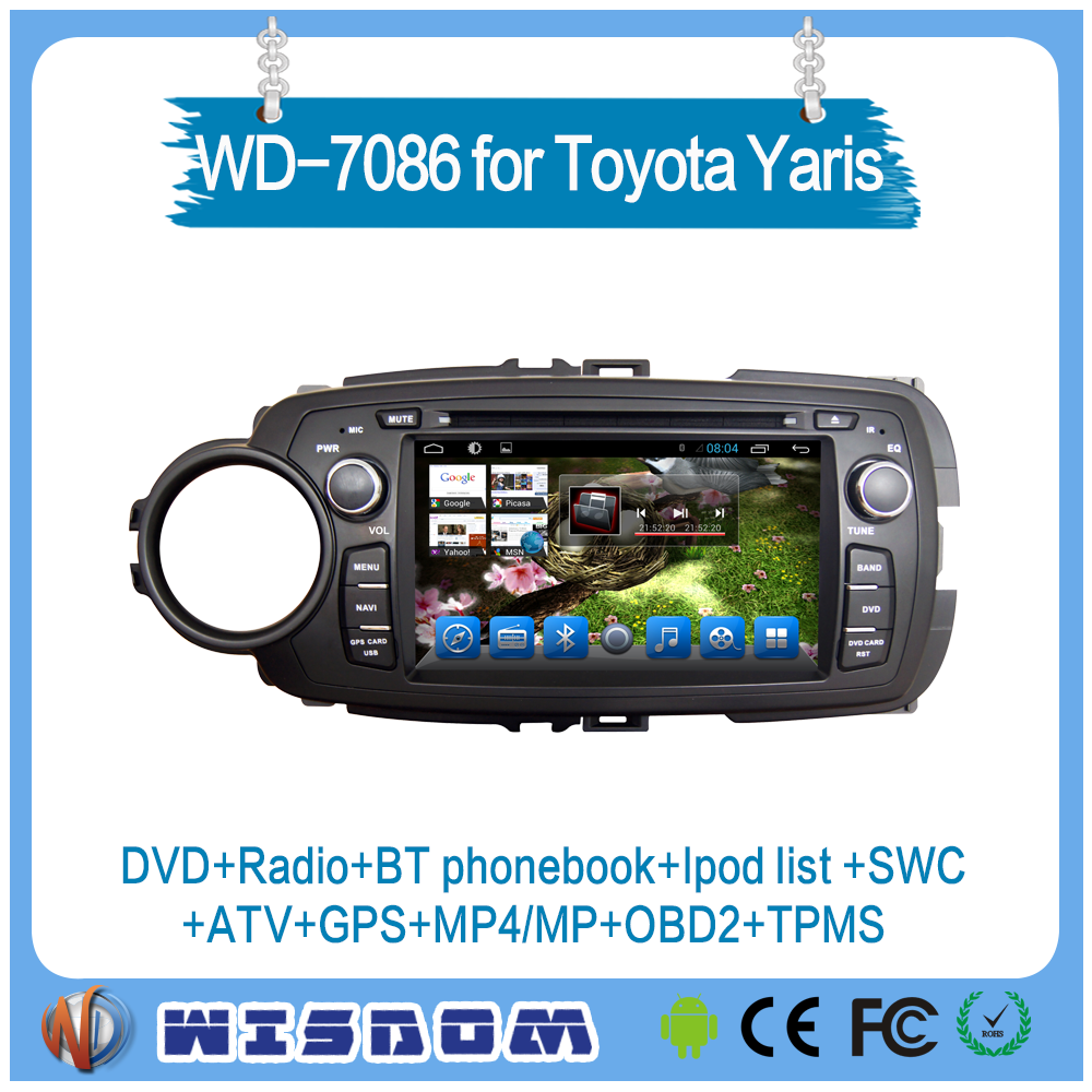 2016 touch screen car dvd player for toyota Yaris car dvd gps navigation player android 2 din auto audio fm radio with bluetooth