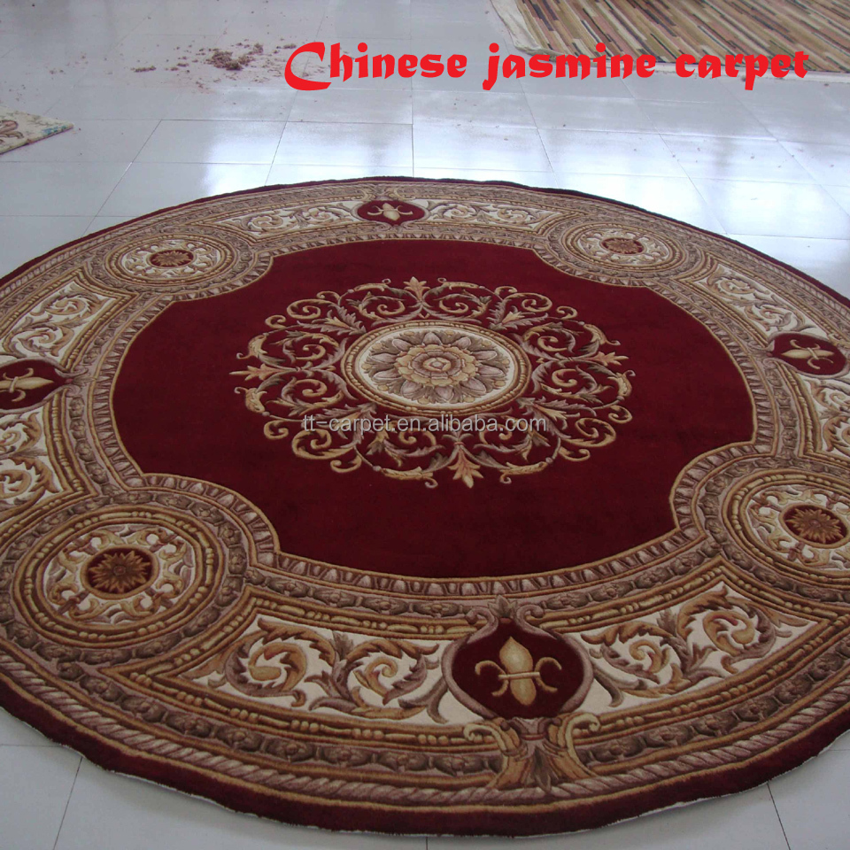 China Modern Style Circular Hand made area rug of red Series