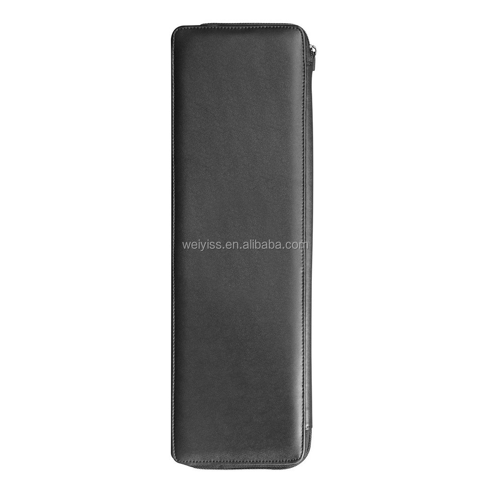 Leather Tie Case Necktie Travel Roll Tie Holder - Black