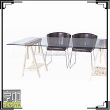 tempered glass table top wood frame modern dining table and chair set