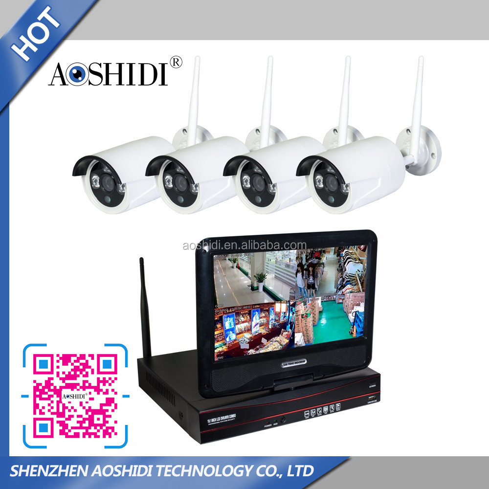 Chinese Wholesale 4CH HD Wireless Camera with NVR and 10 inch Display Moniter,Wireless wifi ip camera with nvr kit