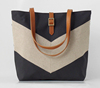 Trendy Linen Chevron Lady Shoulder Bag Tote Bag