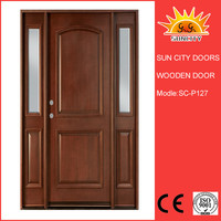 Top Quality fancy mahogany polished solid wood door SC-W127