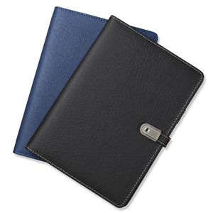 pu cover embossed custom personalized hardcover notebook with power bank and usb