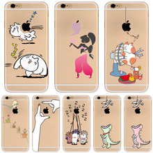SJ105 Phone Cases For iPhone 7 Cute Cartoon Playing Animals Cats Transparent Silicone Happy Husky Fog Cell Phone Cover
