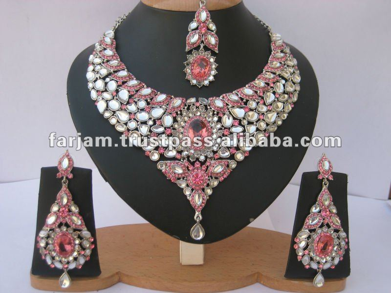 INDIAN DESIGNER AMERICAN DIAMOND SILVER BRIDAL/WEDDING JEWELRY NECKLACE SET