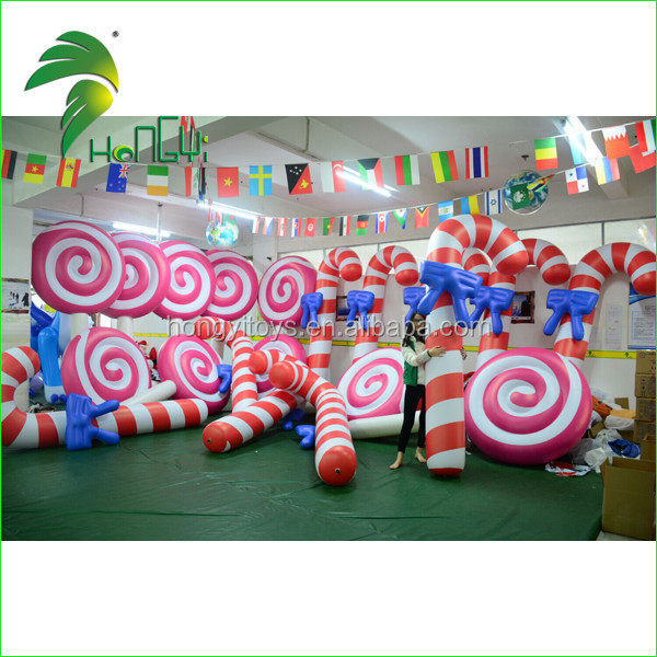 Christmas Decorative Inflatable Lollipop Model , PVC Lolly Air Balloons