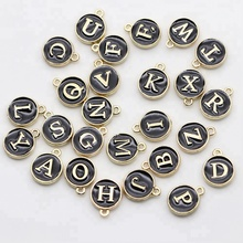 15*12mm DIY Alloy Bracelet Accessories White Enamel Small Alphabet Pendants, Metal Initial Charms, Round Gold Plate Letter Beads