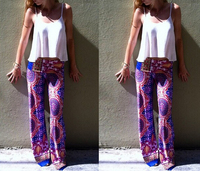 S10241A hotest summer casual printed pants wide-leg long pants for ladies