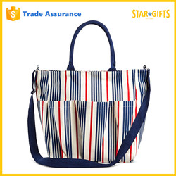 New 2016 Hot Selling Stripe Canvas Weekend Bag With Shoulder Strap