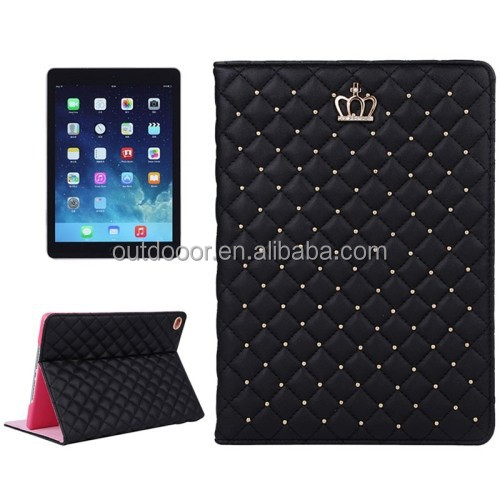 Crown Plaid Texture Horizontal Flip Smart Leather Case with Holder for iPad Air 2