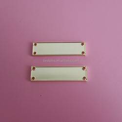 24k gold blank metal plates with holes, stock blank plates