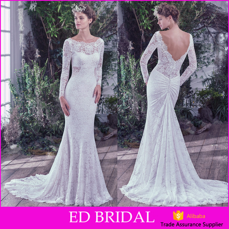 Custom Made Vintage Lace Trim Backless Mermaid Cut Wedding Dresses 2016 Long Sleeve