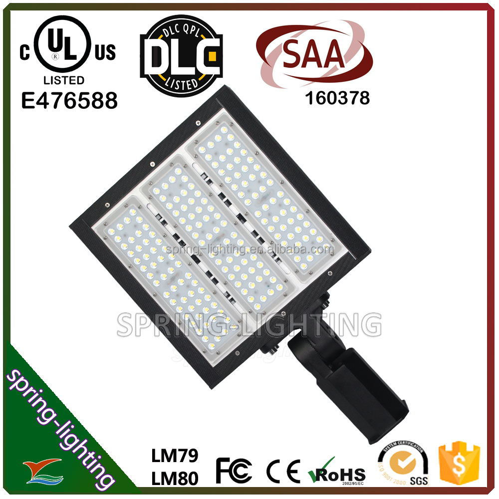 UL CUL DLC listed 100w 150w 200w 15ft to 40ft pole heights LED shoebox light Replacing existing 400W HID HPS fixtures