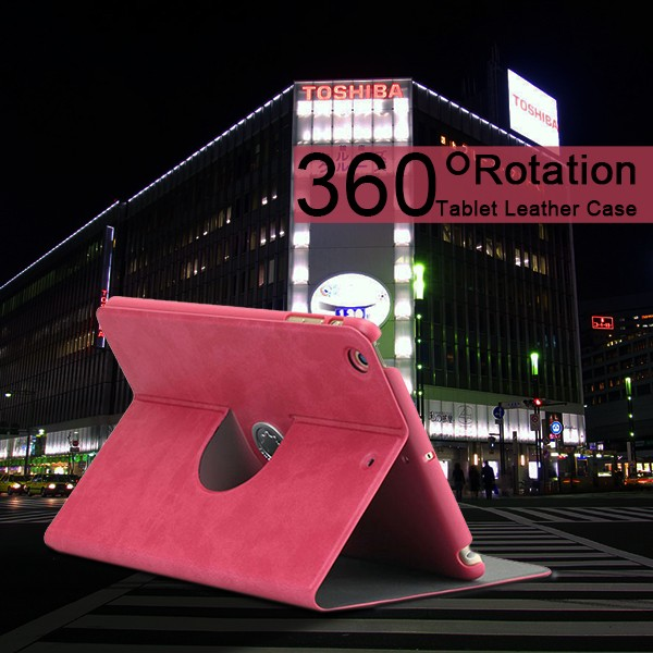 2016 New Coming Multi-function Rotating PU Leather Cover Case for ipad proof