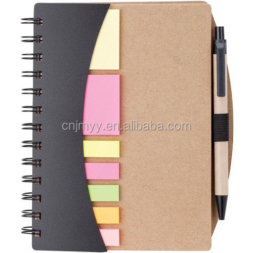Eco kraft hardcover notepad spiral notebook with Pen, Flags and Sticky Notes