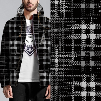 Latest Design no moq black and white check digital printed fabric