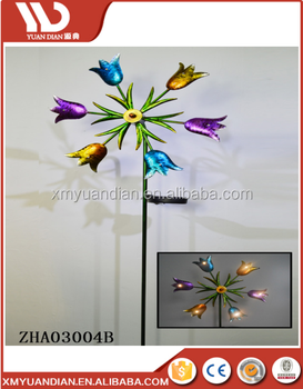 Solar Windmill by flower shape Garden Decoration Wind Spinner for decoration solar garden light