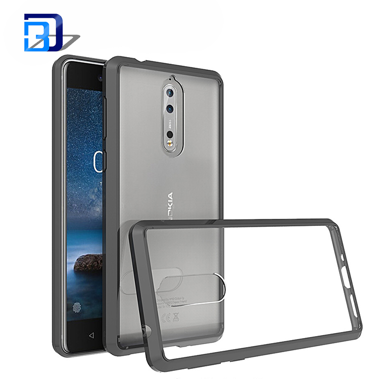 Newest arrival shockproof hard mobile phone cover clear acrylic tpu bumper case for Nokia 8