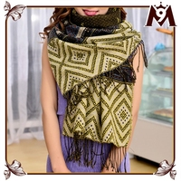 2015 new arrival national style pashmina geometric printed scarf