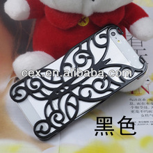 High Quality Chrome Electroplating Rhinestones Hollow Butterfly Pattern PC Hard Back Case Cover for Apple iPhone 5 5s