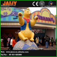 Theme Park Fiberglass Cartoon Bear Statue Decor