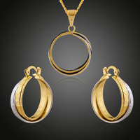 Mother's Day Gifts jewellery for mom double colors gold plated earring and pendant sets