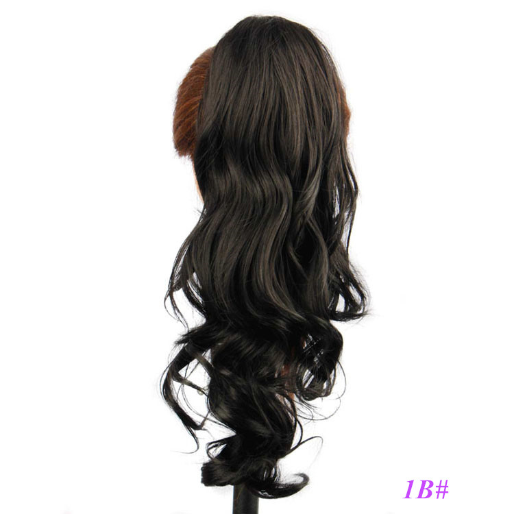 Black Color Curly Wave Synthetic Hair Claw Clip Ponytail Hair Extensions for Women