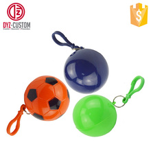 Promotional Poncho Ball Key Chain Custom printed emergency disposable rain poncho