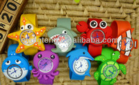 Novelty Kids marine animal lovely Silicone Rubber Snap Watches Multi Color