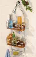 Bamboo/Teak shower caddy, Bathroom rack, Shelf, Corner rack