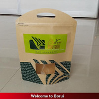 stand up kraft paper bag with clear window and UV printing