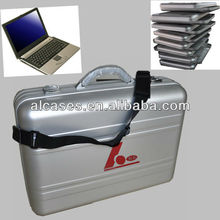 Aluminum laptop briefcase with shoulder strap