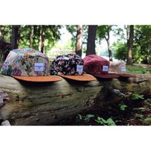 Five panel hat/custom 5 panel hats/floral 5 panel hat with suede brim
