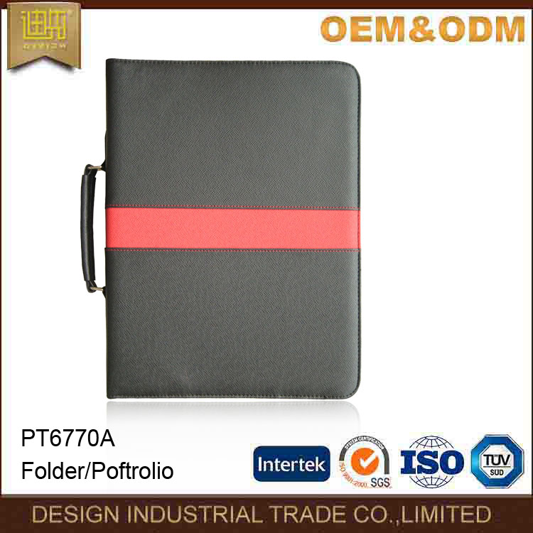 Four Ring Zipper PU leather padfolio Portfolio with handle