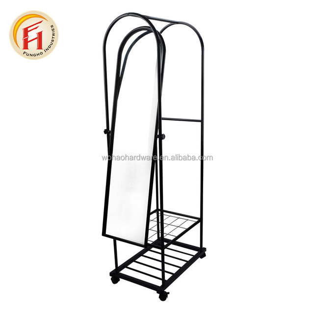 Rolling metal frame standing floor mirror cheval dressing cosmetic mirror