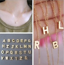 A-Z Gold Tone Mini Initial Letter Alphabet Pendant Charm Bone Necklace Chain Design D3-0179