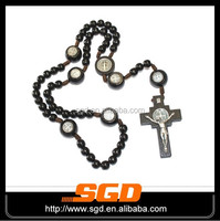 2015 hot selling 316L stainless steel wood rosary black